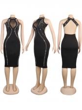 Sexy Backless Rhinestone Decor Sleeveless Dresses