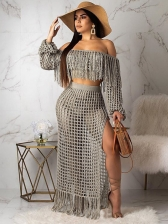 Boat Neck Tassel Hollow Out Skirt Sets For Beach
