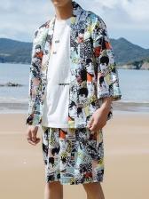 Figure Printed Casual Shorts Mens Activewear