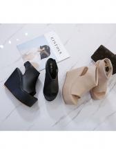 Roman Style Solid Color Platform Wedge Sandals