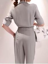 Solid Lapel Collar Half Sleeve Jumpsuit