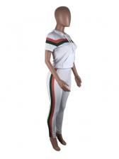 Colorblock Zipper Two Piece Pants Outfits