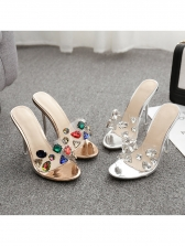 Crystal Decor High Heeled Slippers For Women