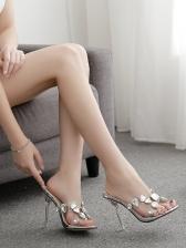Colorful Rhinestone High Heeled Slippers Womens Shoes Sale