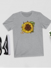 Sunflower Printed O Neck Short Sleeve Tee