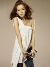 Solid Color Single Shoulder Women Short Dress