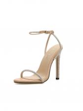Rhinestone Decor High Heeled Ladies Sandals