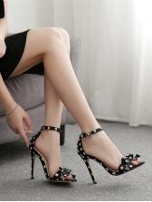 Polka Dots Bow Decor Heeled Womens Dress Shoes