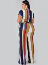 Contrast Color Striped Plus Size 2 Pieces Pants Sets