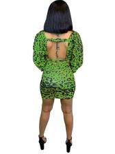 V Neck Leopard Backless 2 Pieces Skirt Sets
