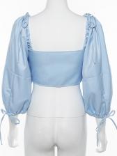 Off Shoulder Drawstring Lantern Sleeve Cropped Blouse