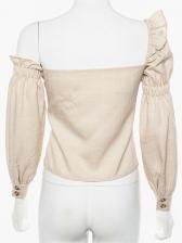 Irregular Single-Breasted Plaid Off Shoulder Blouse