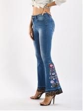 Leopard Print Flower Embroidery Denim Flare Pants