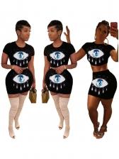 Eye Printed Sequins Female Crop Top Skirt Set
