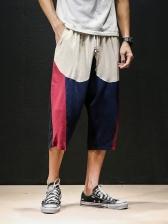 Casual Contrast Color Wide Legs Capri Pants For Men