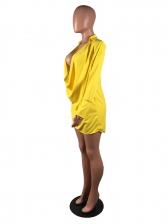 Night Club Low-Cut Yellow Long Sleeve Dress