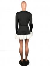 White Ruffled Patchwork Deep V Neck Dress