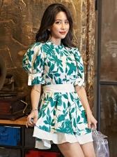 Summer Smart Waist Floral Short Sleeve Dress