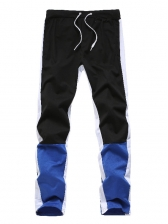 Contrast Color Drawstring Fitted Men Long Pants