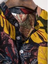 Stand Collar Leaf Printing Men Short Sleeve Shirt