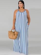 Plus Size Contrast Color Striped Straps Maxi Dress