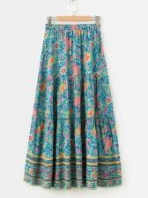 Beach Floral Printed High Waist Maxi Skirts