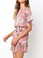 Summer Printed Ruffled Short Sleeve Chiffon Dresses
