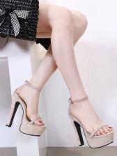 Solid Ankle Buckle Platform Lady Sandals
