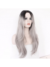 Gradient Gray Side Silky Straight Synthetic Wigs