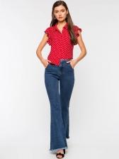 Ruffle Sleeve Polka Dots Shirt For Women