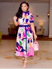 Fashion Printed Short Sleeve Maxi Dress