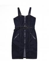 Solid Zipper Sleeveless Denim Dress With Belt