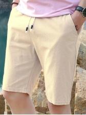 Solid Color Drawstring Men Straight Short Pants