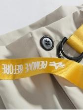 Stylish Pockets Letter Ribbon Decor Men Half Pants