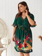 Bohemian V Neck Printed Tassel Short Sleeve Dress