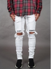 Letter Embroidery Knee Hole Fitted White Pants