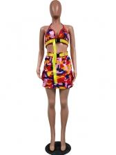 Stylish Camouflage Halter Two Piece Skirt Set