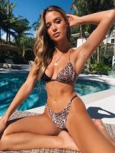 Contrast Color Printed String Bikini SetsContrast Color Leopard Printed Bikini Sets