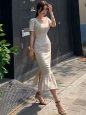 Solid Square Neck Ruffled Hem Short Sleeve Dress