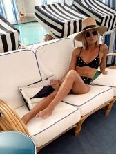 V Neck Star Printed High Waist Bikini Sets