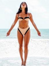 Sexy Spaghetti Strap High Waist Patchwork Bikini Sets