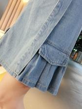 Ruffled Shoulder Straps High Waist Skirt Two Piece