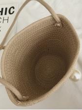 Summer Solid Straw Bucket Bag For Women