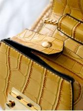 Alligator Pattern Metal Round Handle Saddle Bag