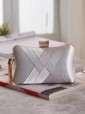 Cross Belt Tassel Decor Square Evening Clutch Bag