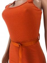 U Neck Solid Color High Waist Jumpsuits With Belt