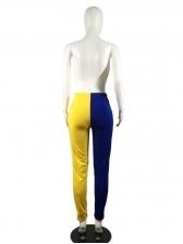 Contrast Color High Waist Sport Long Pants For Women