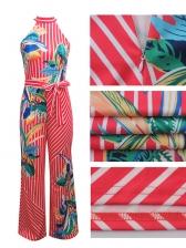 Fashion Printed Striped Sleeveless Halter Jumpsuits