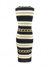 Summer Crew Neck Chain Printed Sleeveless Dress