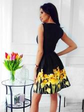 Smart Waist Floral Printed Women Dress